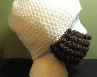 Crochet Bearded Skullcap - Beard Hat - White Hat With Beard Face Warmer - Ready To Ship!