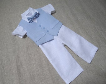 Ring bearer outfit Baby boy wedding suit Baptism linen suit Boy first birthday outfit Baby natural clothes Boy formal suit white light blue