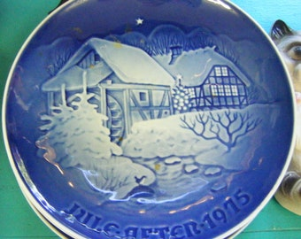 1975 Bing and Grondahl Christmas at the Old Watermill Porcelain Collectible Christmas Plate Made in Denmark