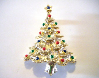 Christmas Tree Pin or Brooch with Blue Gem Star On Top