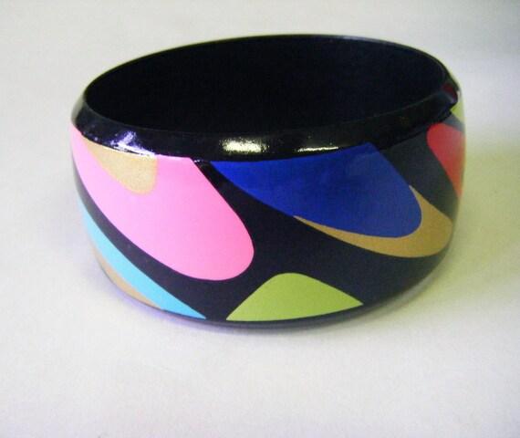 Multi Colored Fabulous Plastic or Bakelite Bracelet From 1960's Vintage