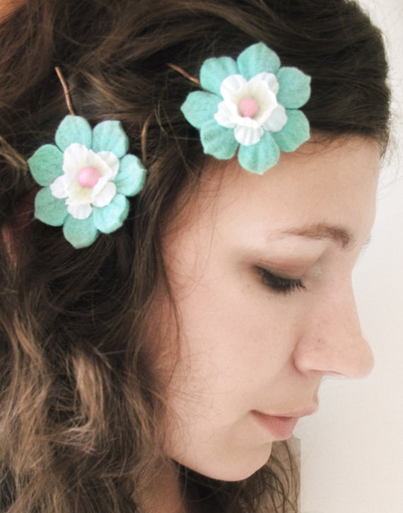 "Flower Hair Pins in teal, pink, and cream ""Lotus"""