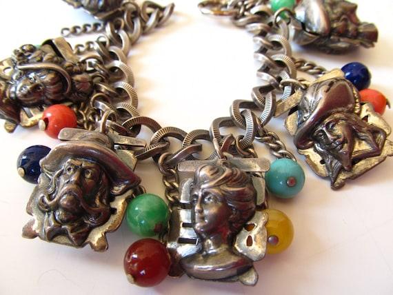 Fantastic Napier Charm Bracelet with Art Glass Beads