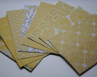 Yellow Floral and Patterned Set of 8 Handmade Envelopes by Paper Hearts Station on Etsy