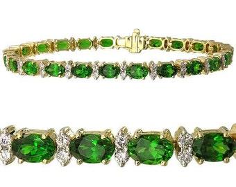 Tsavorite Green Garnet & Diamond Tennis Bracelet 14K YG 7 inches (15ct tw) : sku 1827-14K-Yg