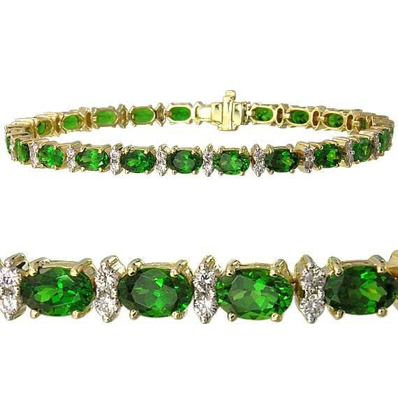 Tsavorite Green Garnet & Diamond Tennis Bracelet 14K YG 7 inches (15ct tw) : sku 1827-14K-Yg