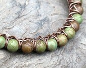Turquoise bead bracelet - green stone & copper bangle
