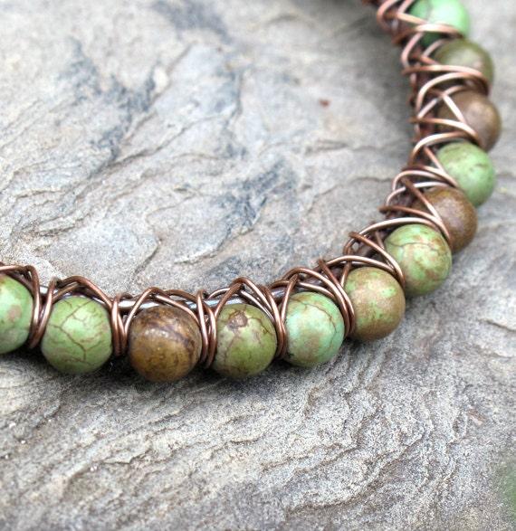 Turquoise bead bracelet - green stone & copper bangle