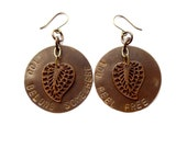 antiqued brass leaf earrings // hand stamped jewelry