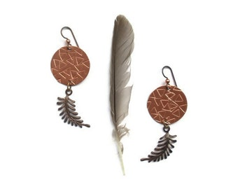 dream catcher earrings // stamped tribal jewelry // copper brass