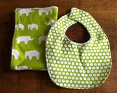 Baby Bib and Burp Cloth Set - Green and Towelling - made from organic cotton from the Mod Basics collection by Birch