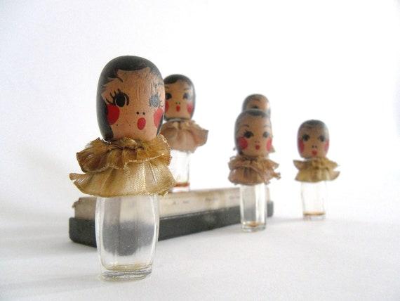 Perfume Bottles. Karoff  Floral Quintuplets. 1936 Collectible. Dionne Quintuplets