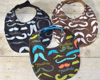 Set of Three Mustache Baby Bibs Three Piece Set