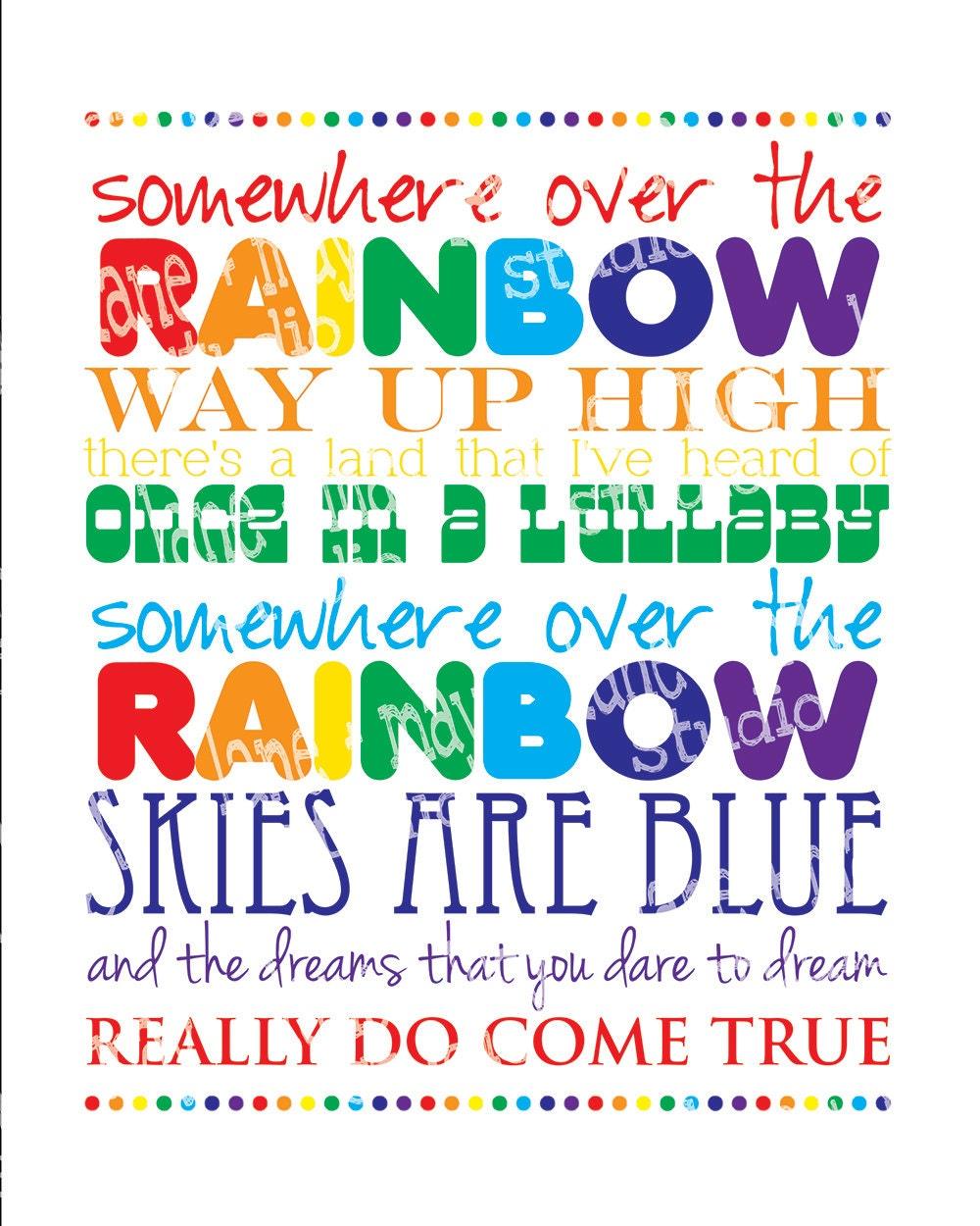 somewhere over the rainbow 8 x 10 digital print INSTANT