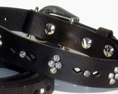 Leather Dog Collar - black with crystals and cutouts