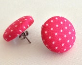 Pink Polka Dot Earrings- Pink Earrings- Button Earrings