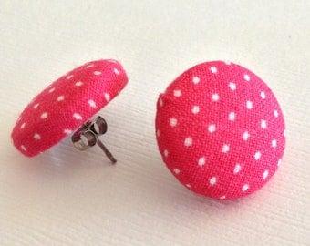 Pink Polka Dot Earrings- Pink Earrings- Button Earrings