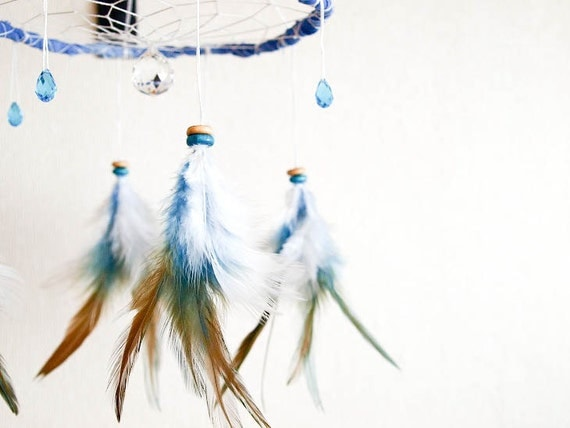 Dream Catcher - Lightcatcher - Sparkling Drops - Turquoise and White Crystals, Prism, Blue Frame and Feathers - Art, Mobile