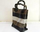 BAYONG - black and white striped abaca tote bag