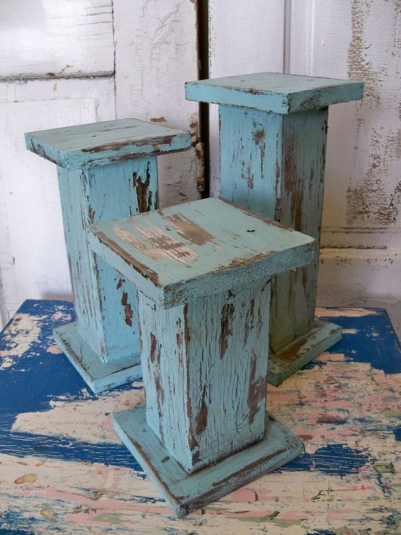 Large distressed pillar candle holders Hand made wooden shabby chic cottage blue ooak Anita Spero