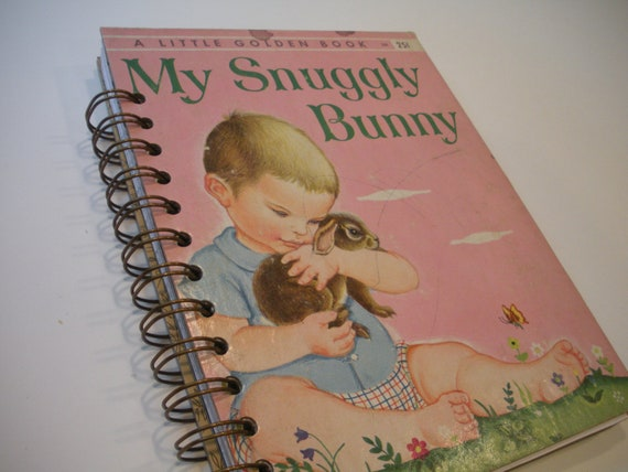 1956 Vintage My Snuggly Bunny Little Golden Book Recycled Journal