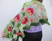 Nuno Felt Shawl OOAK / Nuno felted scarf with poppies /Silk and Merino Wool Scarf/ red and green/ gifts  for women/ gift under 70