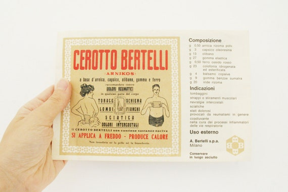 "Vintage medicated plaster, Italian ""Cerotto Bertelli"", 1969, for plaster collectors"