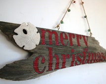Merry Christmas Driftwood Sign, Rustic Beach Christmas Home Decor, Christmas decoration(Made to Order)