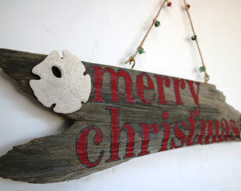 Merry Christmas Driftwood Sign: Rustic Holiday Home Decor, Beach Christmas, Made to Order Christmas Decorations--ships in 3 business days!