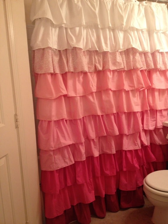 Pink Ombré Curtain with Pizzaz by juliaann87 on Etsy