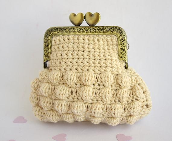 Crochet Coin purse Organic undyed cotton Retro Coin Purse