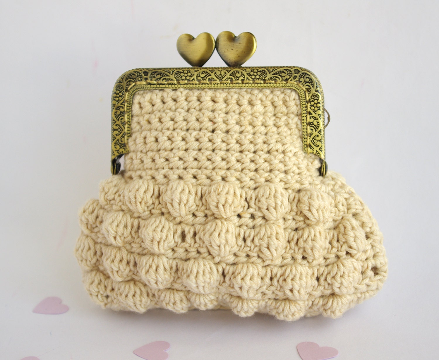 Crochet Coin purse Organic undyed cotton Retro by CocoFlowerShop