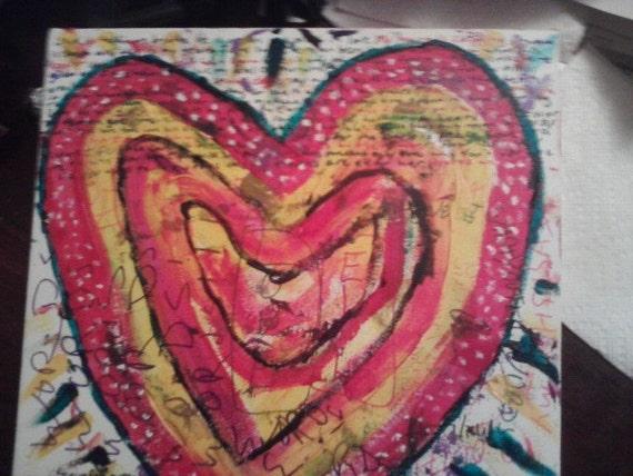 "Unique Abstract Painting: Sloppy Heart No. 15 ""Rednyella Killafella"""