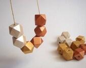 Geometric Hand Painted Autumn Colors  Wood Beads 20mm Big Hole,Do it yourself Geometric Jewelry