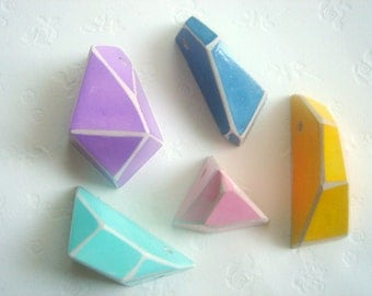Pastel Geometric Faceted Clay Pendans,Do it Yourself  Geometric Jewelry,Hand Painted Ceometric beads