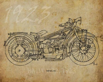 BMW R32 1923, 12x8.50 in to 60x42in. Based on my Original Handmade Drawing, office art