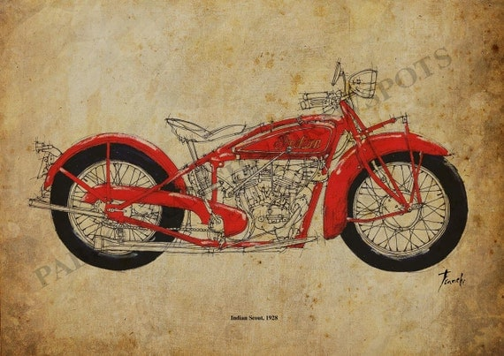 Art Print, INDIAN SCOUT 1928,Original Handmade Drawing Print ,11.5x16 in, vintage motorcycle, Christmas Gift