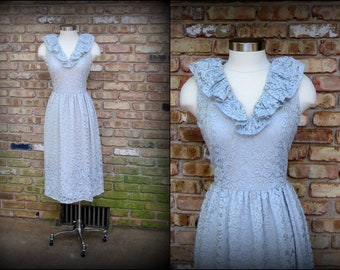 Vintage Formal Dress | 1960s | Light Blue Lace Dress with Ruffled Neckline | Small