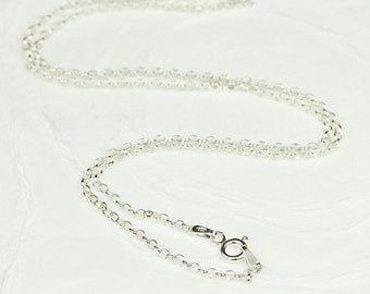 20 inch Sterling Silver Rolo Chain, 2 mm Rolo Chain Necklace, Long Strong Chain, Italy 925 Stamped, Italian Solid Sterling Silver Jewelry