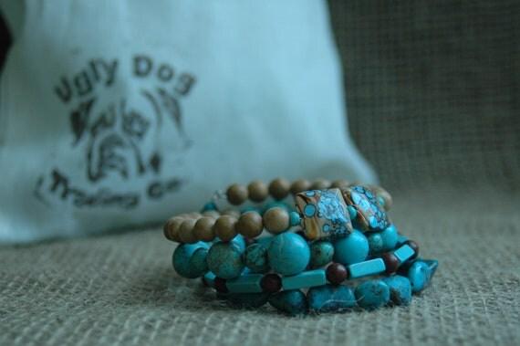Stacking Bold Turquoise Bracelet- Statement Turquoise Bracelet,-Arizona Turquoise, Porcelain, and Stone Bracelet