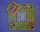 OOAK SQUARE Painted  Photo Frame with BUTTONS