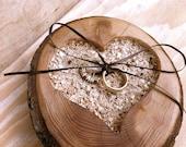 Rustic wood Ring bearer pillow heart shaped ring bearer pillows wedding gift
