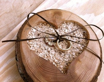 Rustic wood Ring bearer pillow heart shaped ring bearer pillows ring bearer box heart ring bearer wood