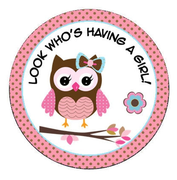 personalized 2 5 or 2 round pink baby owl by lovelypapercreations
