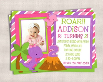 Adorable Girl's Little Dino Stripes Custom Birthday Party Printable Invitation Digital File