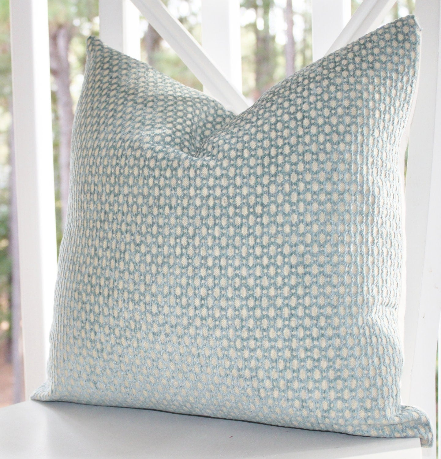 Decorative Pillow Green Blue Cover Sea Foam Water by MotifPillows