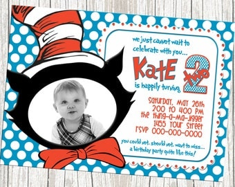 Dr. Seuss Cat In The Hat Birthday Invite - Custom With Photo