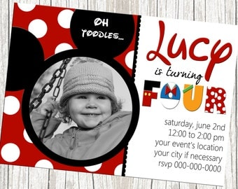 Mickey Mouse Photo Birthday Invitation