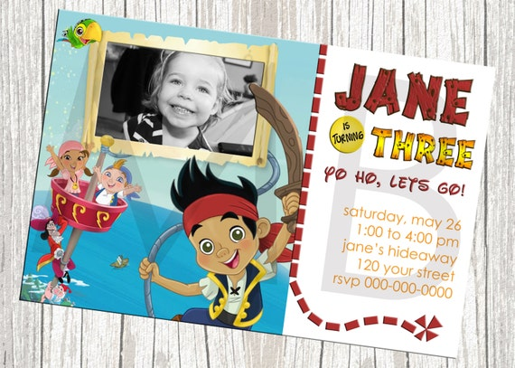 Jake And The Neverland Pirates Birthday Invitation - Custom with Photo
