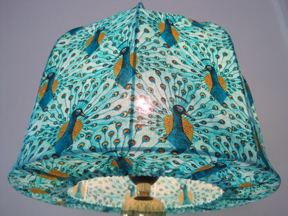 Peacock Lampshade made in Retro  Style, for table Lamp.
